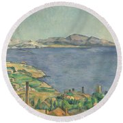 The Gulf Of Marseilles Seen From L'estaque Round Beach Towel