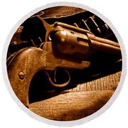 The Gun That Won The West - Sepia Round Beach Towel