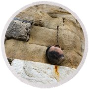 The Hanging Jar - Rough Weathered Stones Rust And Ceramics - A Vertical View Round Beach Towel