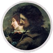 The Happy Lovers Round Beach Towel by Gustave Courbet