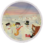 The Happy Snowman Band Round Beach Towel