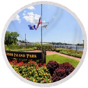 The Harbor Island Park In Mamarineck, Westchester County Round Beach Towel
