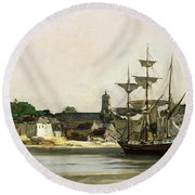 The Harbour At Honfleur Round Beach Towel