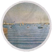 The Harbour At Portrieux Round Beach Towel