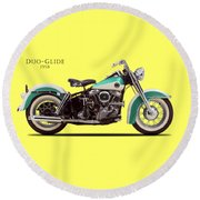 The Harley Duo-glide 1958 Round Beach Towel