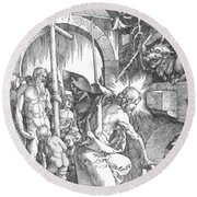 The Harrowing Of Hell Or Christ In Limbo From The Large Passion 1510 Round Beach Towel