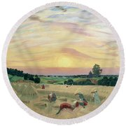 The Harvest Round Beach Towel by Boris Mikhailovich Kustodiev