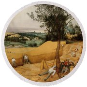 The Harvesters By Pieter Bruegel The Elder                             Round Beach Towel