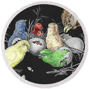 The Hatching Of Chicks. Round Beach Towel