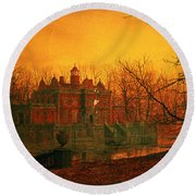 The Haunted House Round Beach Towel by John Atkinson Grimshaw