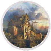 The Haunted House Round Beach Towel by Thomas Moran