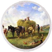 The Hay Harvest Round Beach Towel