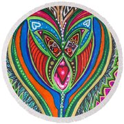 The He And She Together Round Beach Towel