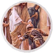 The Healing Of The Leper Round Beach Towel