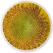 The Heart Of The Sunflower Round Beach Towel