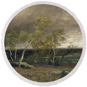 The Heath In A Storm Round Beach Towel