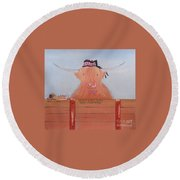 The Heiland Coo At Christmas Round Beach Towel