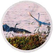 The Heron And The Egret Round Beach Towel