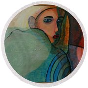 The Hiding Child Within Round Beach Towel