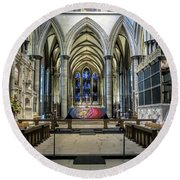 The High Altar In Salisbury Cathedral Round Beach Towel