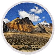 The High Andes Painted Version Round Beach Towel