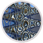 The High Road,abstract Round Beach Towel
