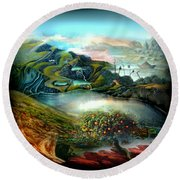 The Highkingdom Of Loch Lein Aka Hesperidean Avalon Round Beach Towel