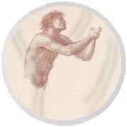 The Hill Of Venus Male Nude Round Beach Towel