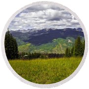 The Hills Are Alive In Vail Round Beach Towel