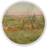 The Hills Of Thierceville Seen From The Country Lane Round Beach Towel