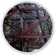 The Historic Kinsol Trestle  Inside View Round Beach Towel