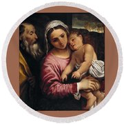 The Holy Family , Annibale Carracci Round Beach Towel