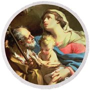 The Holy Family Round Beach Towel by Gaetano Gandolfi