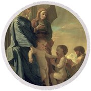 The Holy Family Round Beach Towel by Nicolas Poussin