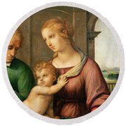 The Holy Family Round Beach Towel by Raphael