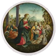 The Holy Family With Angels Round Beach Towel