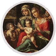 The Holy Family With Saint Anne And Saint John Round Beach Towel