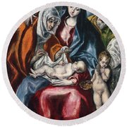 The Holy Family With Saint Anne And The Infant John The Baptist Round Beach Towel