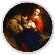 The Holy Family With Saint Francis Round Beach Towel by Jacob van Oost