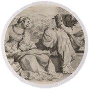 The Holy Family With Saint John The Baptist Round Beach Towel