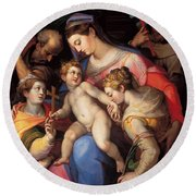 The Holy Family With St Catherine Of Alexandria, St Margaret Of Antioch And St Francis Of Assisi  Round Beach Towel