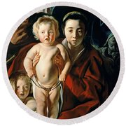 The Holy Family With St. John The Baptist Round Beach Towel