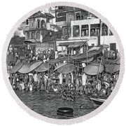 The Holy Ganges - Paint Bw Round Beach Towel