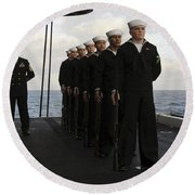 The Honor Guard Stands At Parade Rest Round Beach Towel by Stocktrek Images