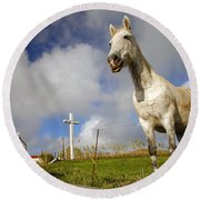 The Horse And The Chapel Round Beach Towel