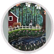 The Horse Farm Round Beach Towel