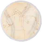 The Horse Of Selene From The Elgin Marbles [recto] Round Beach Towel