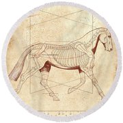 The Horse's Trot Revealed Round Beach Towel
