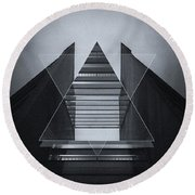 The Hotel Experimental Futuristic Architecture Photo Art In Modern Black And White Round Beach Towel