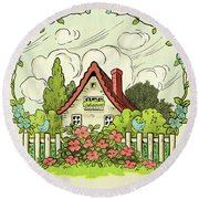 The House At The End Of Storybook Lane Round Beach Towel